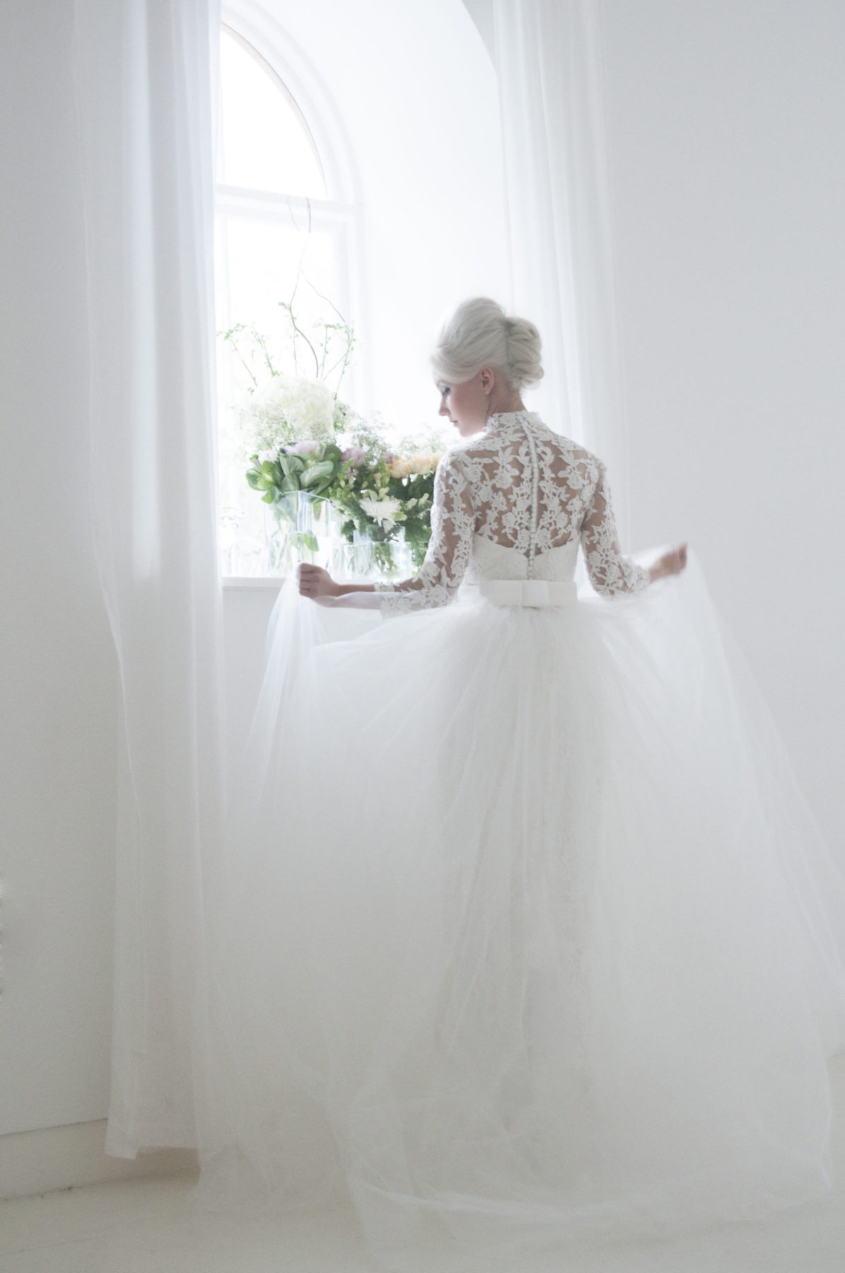 lace straight column bridal gown