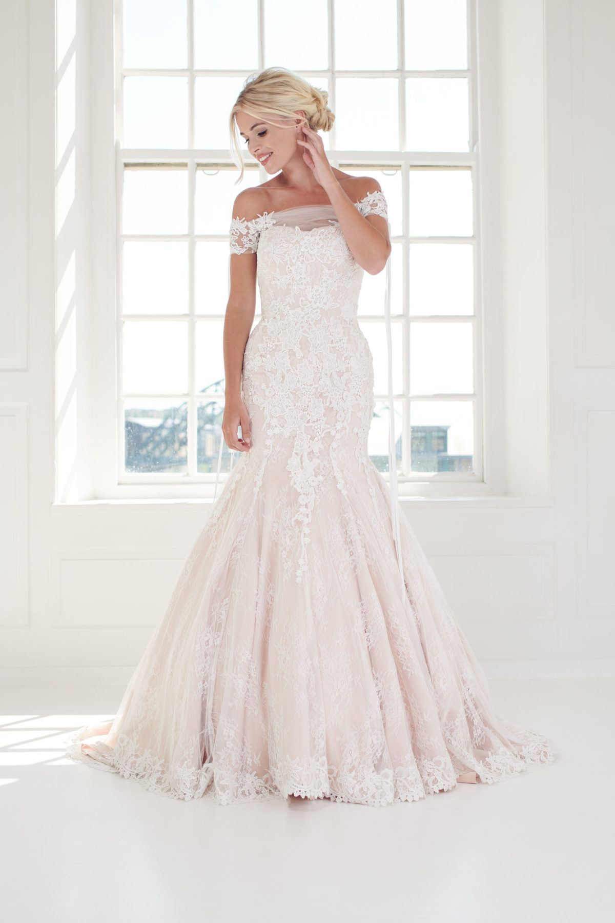 blush fishtail wedding dress