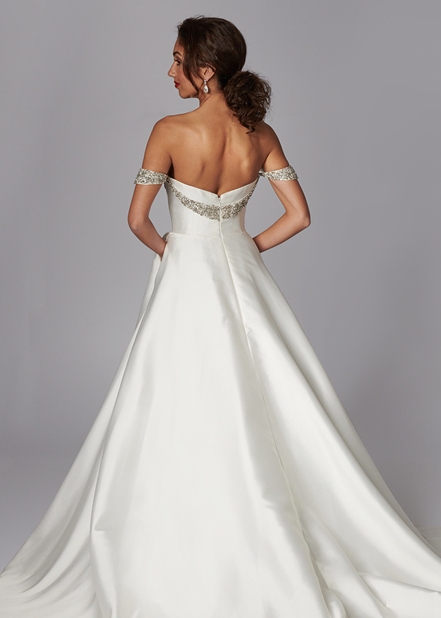Harmony Back Exquisite Off The Shoulder Mikado Ballgown Wedding Dress Diamante Detail Train Showstopper