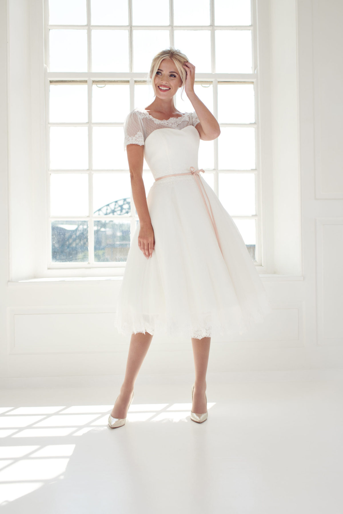 ivory spot tulle short dress