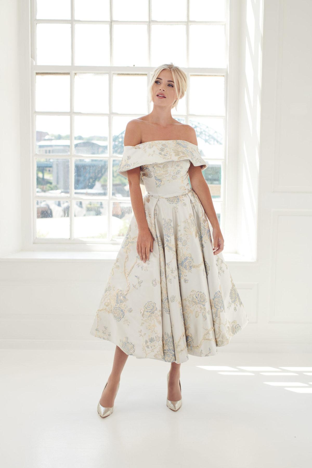 grey floral brocade short dress