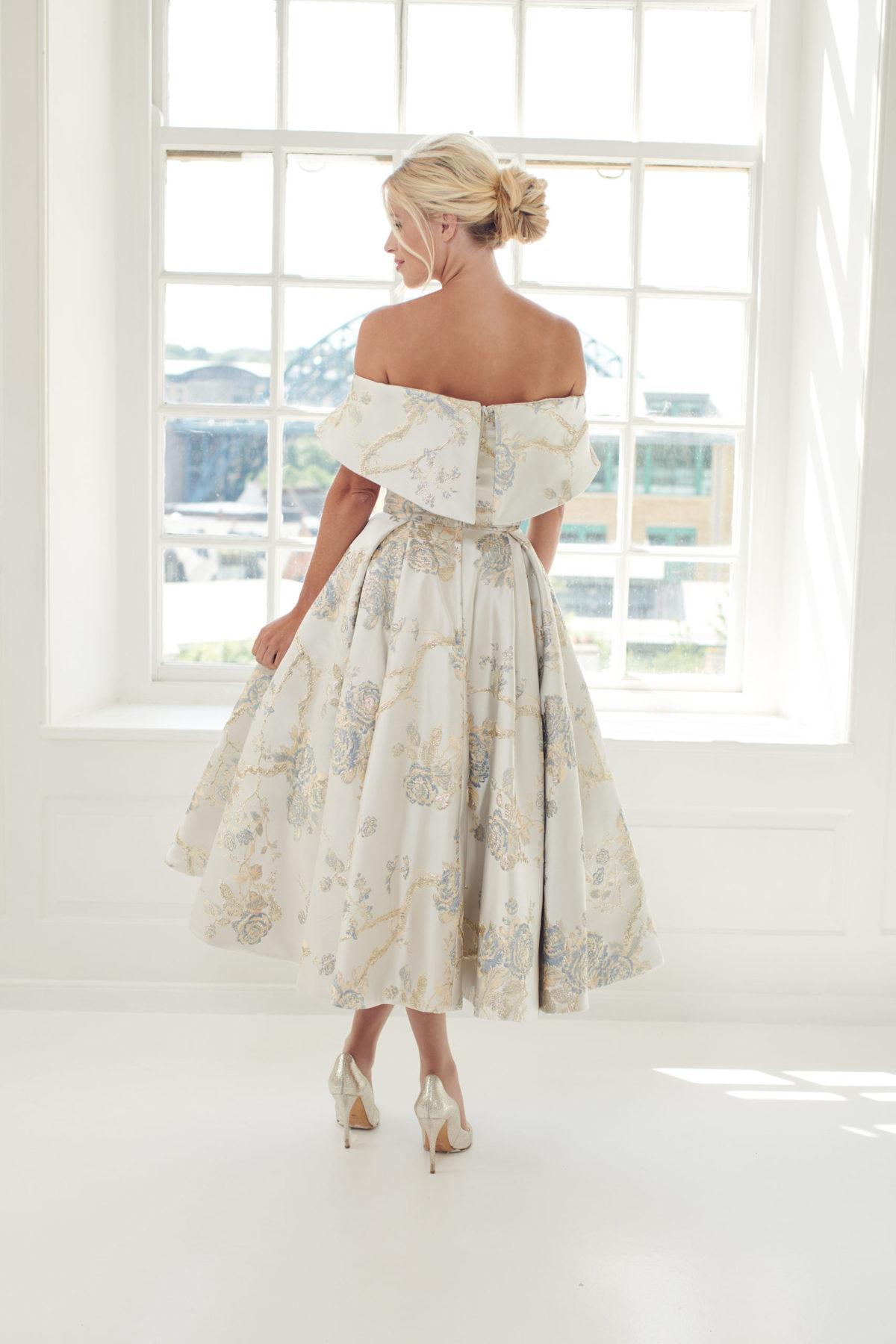 grey floral wedding gown