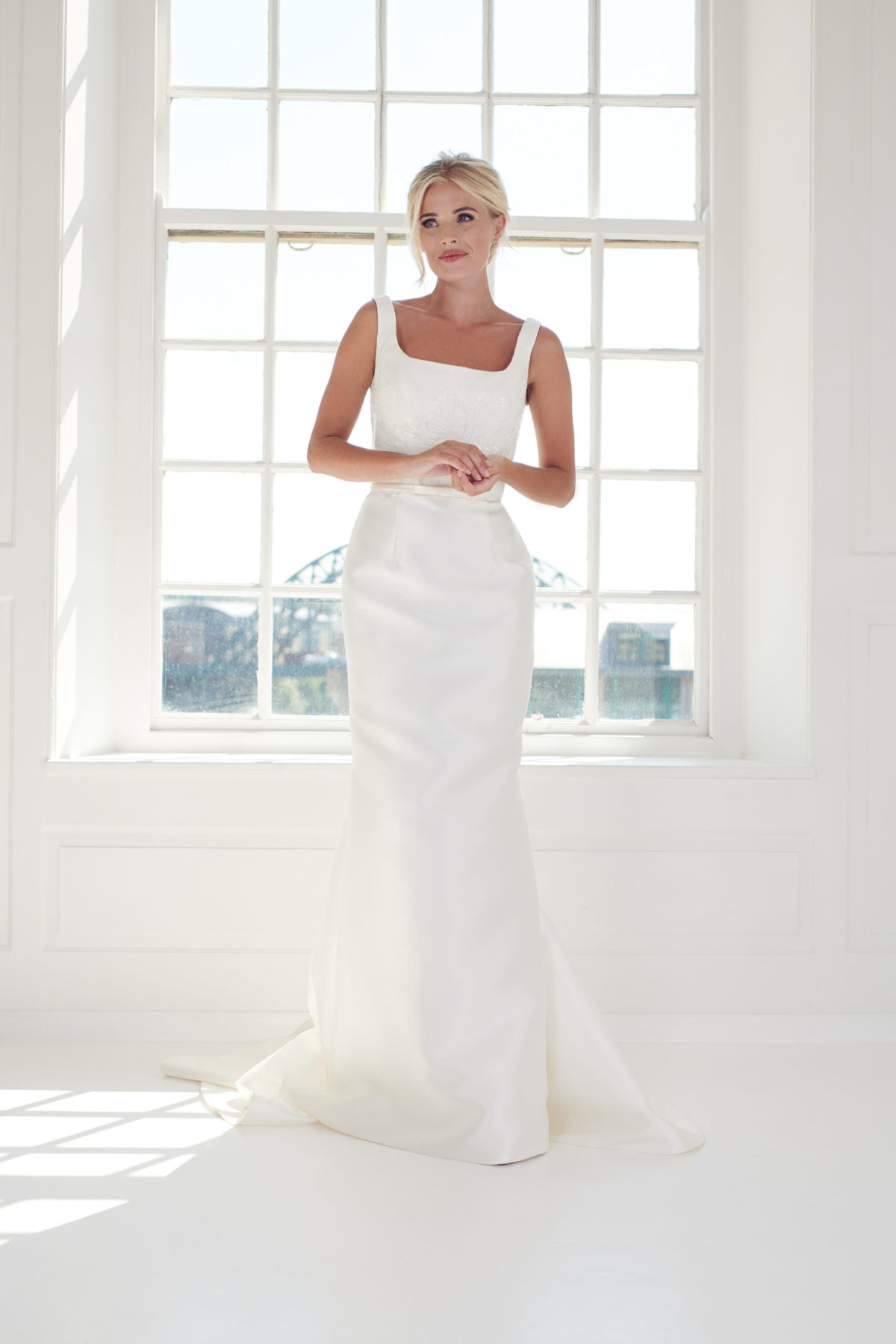 mikado column wedding dress