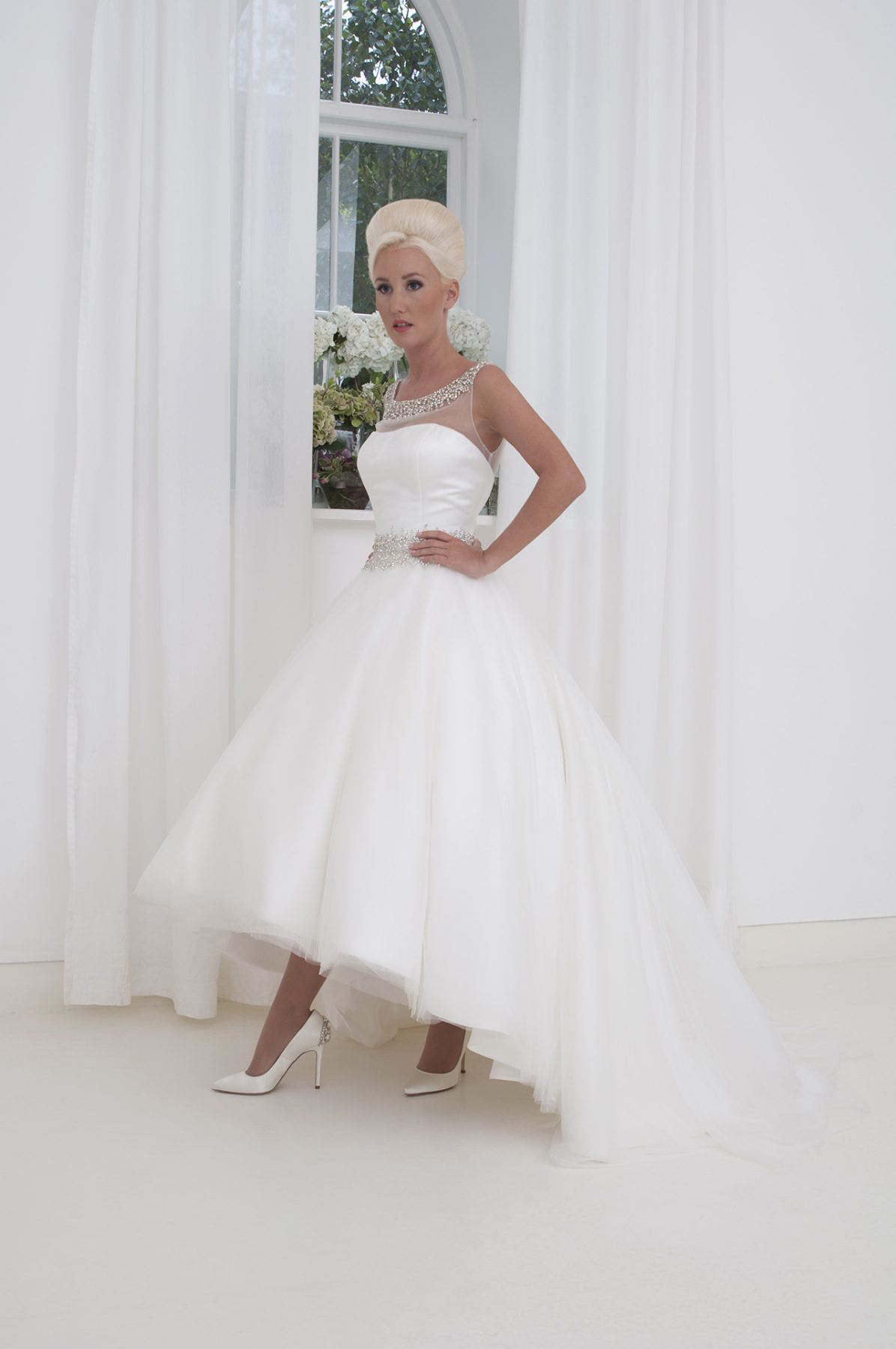 tulle high low wedding dress