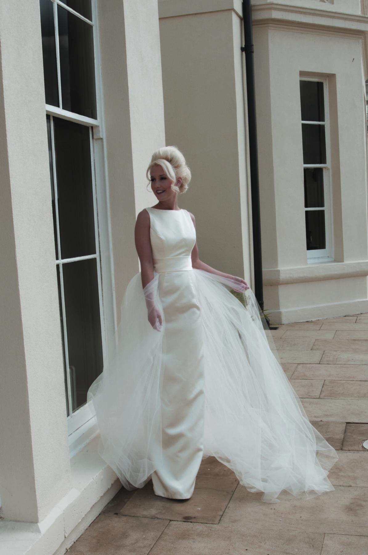 ivory column bridal gown