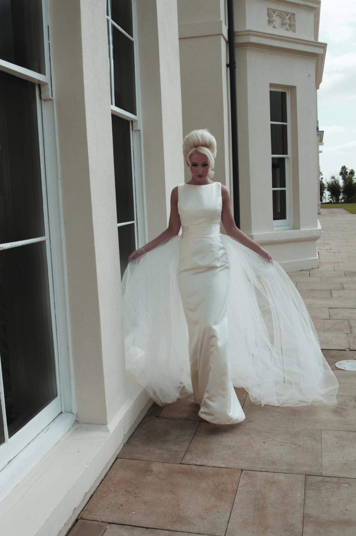 ivory satin column gown