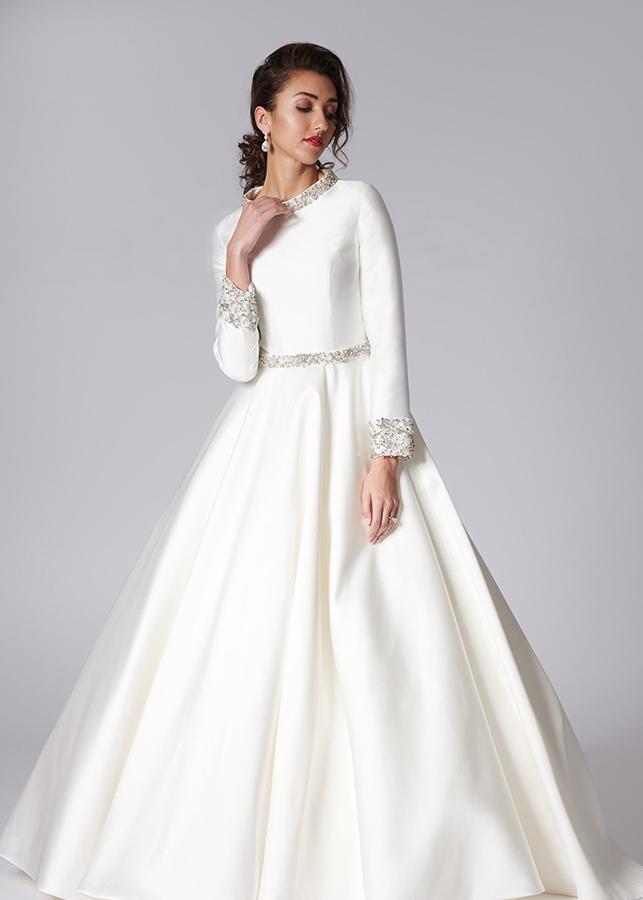 Vanessa Front Modest Elegant Modern Ivory Mikado Wedding Dress Diamante Details Long Sleeves High Collar Beading Ballgown Skirt Train