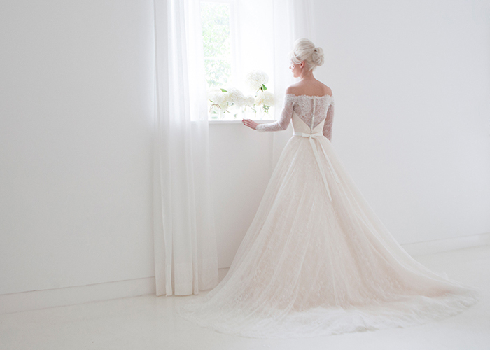 Stunning Lace Off The Shoulder Ballgown Wedding Dress With